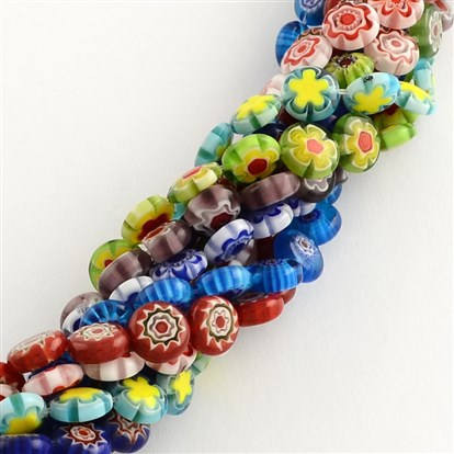 "Handmade Millefiori Glass Bead Strands, Flat Round, 10x4mm, Hole: 1.5mm; about 40pcs/strand, 14.9""-1"