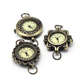 Alloy Watch Face Watch Head Watch Components, Mixed Style, 27~32x28~34x7~8mm, Hole: 6~7mm