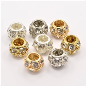 Brass Grade A Rhinestone European Beads, Rondelle, 12x8mm, Hole: 5.5mm