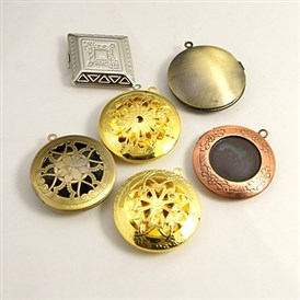 Brass Locket Pendants, Photo Frame Charms for Necklaces, Mixed Shapes and Mixed Color, 22~42x6~10mm, Hole: 2mm