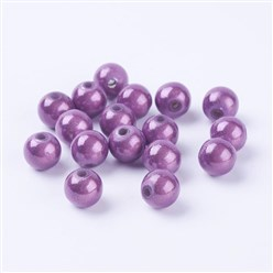 Plum Spray Painted Miracle Acrylic Beads, Bead in Bead, Round, Plum, 8mm, Hole: 1.8mm; about 1800pcs/500g