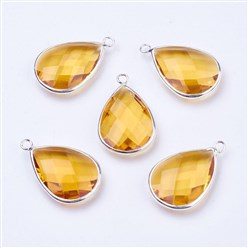 Yellow Silver Tone Brass Glass Drop Pendants, Faceted, Yellow, 18x10x5mm, Hole: 2mm