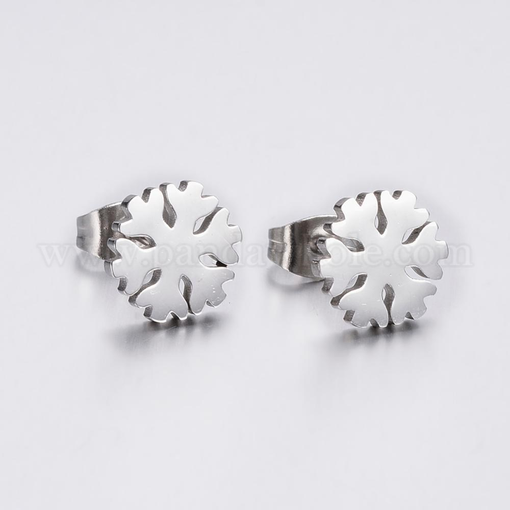 Wholesale 304 Stainless Steel Ear Studs Snowflake In Bulk