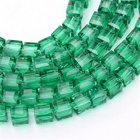 Transparent Glass Bead Strands, Cube, 8x8x8mm, Hole: 1mm; about 72pcs/strand; 21.6""