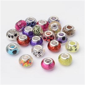 Large Hole Rondelle Acrylic European Beads, with Silver Tone Brass Double Cores, 14mm, Hole: 5mm