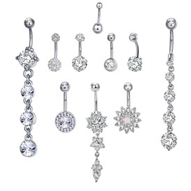 Brass Piercing Jewelry, Belly Rings, with Glass Rhinestone, Mixed Shapes