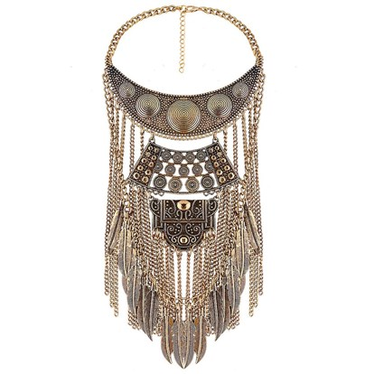"Exaggeration Alloy Bib Necklaces, Fringe Chain Necklaces, with Leaves Tassel, 18.3""-1"