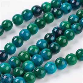Gemstone Beads Strands, Synthetic Chrysocolla, Dyed & Heated, Round