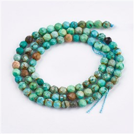 Dyed Natural Turquoise Beads Strands, Faceted, Round
