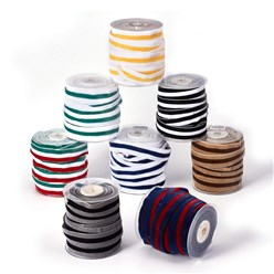 "Mixed Color Polyester Ribbon, Single Face Velvet Ribbon, Binary Colour, Striped Pattern, Mixed Color, 1""(26mm); about 25yards/roll(22.86m/roll)"