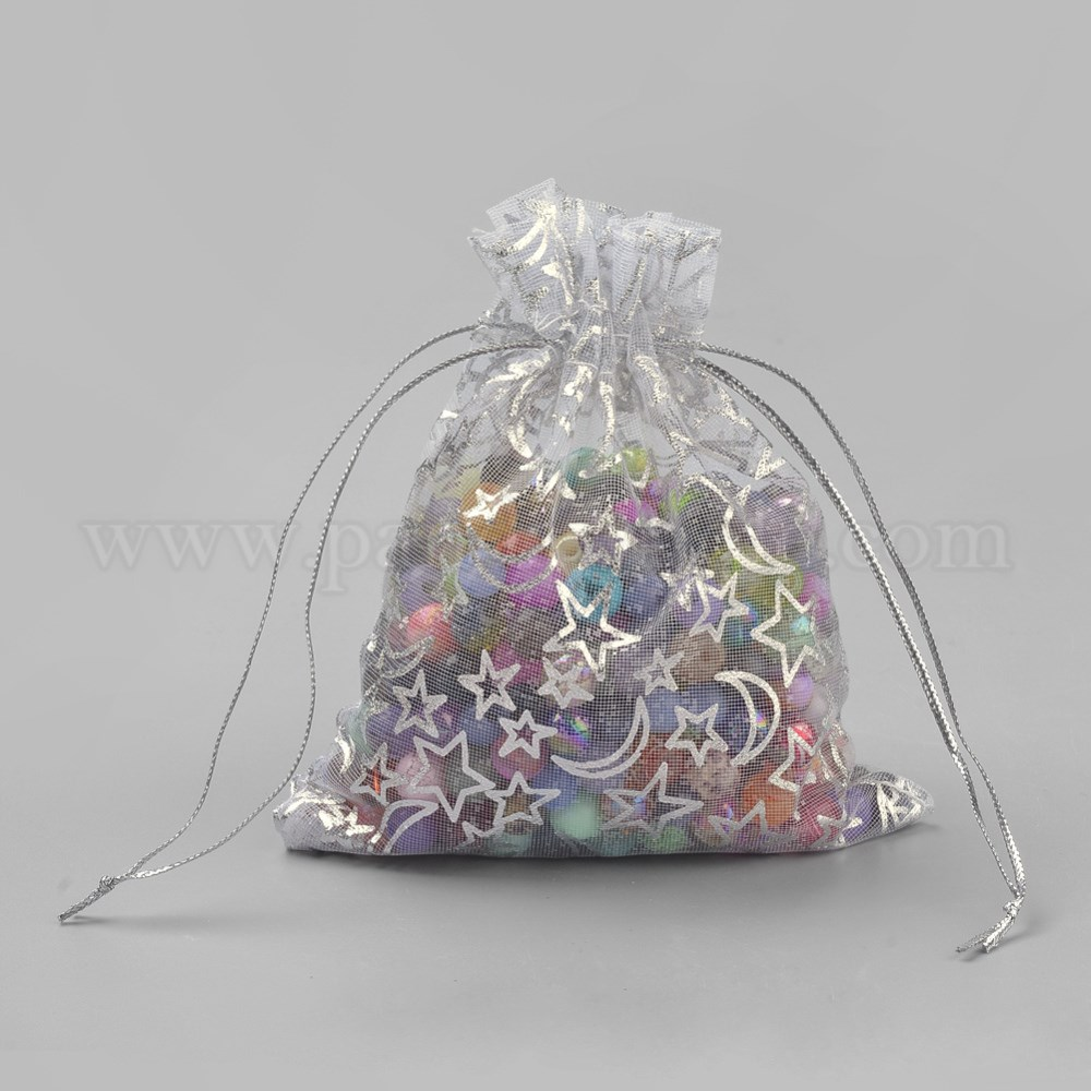 Organza Gift Bags, Rectangle with Moon & Star Pattern (00PT17)