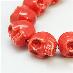 Red Handmade Porcelain Beads Strands, Bright Glazed Style, Skull, Halloween, Red, about 15mm wide, 18mm long, 18mm thick, Hole: 1.5mm