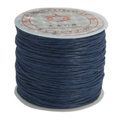 PrussianBlue Cotton Waxed Cord, PrussianBlue, 1mm; about 25m/roll