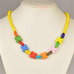 Yellow Colorful Wood Necklaces for Kids, Children's Day Gifts, Stretchy, Yellow, 18 inches