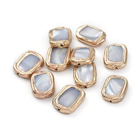 Electroplated Shell Beads, with Golden Plated Edge Brass Findings, Rectangle