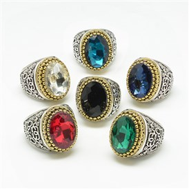 Glass Wide Band Finger Rings, with Alloy Ring Findings, Faceted, Oval, Antique Silver & Antique Golden, Size 7~11