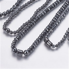 Non-magnetic Synthetic Hematite Beaded Necklaces, Buddhist, Mixed Shapes