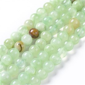 Natural Prehnite Beads Strands, Dyed, Round