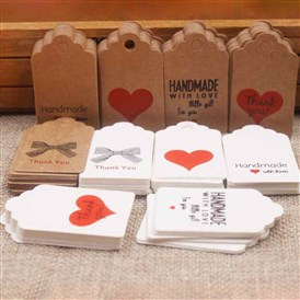 Paper Gift Tags, Hange Tags, For Arts and Crafts, For Wedding/Valentine's Day/Thanksgiving, Rectangle with Word