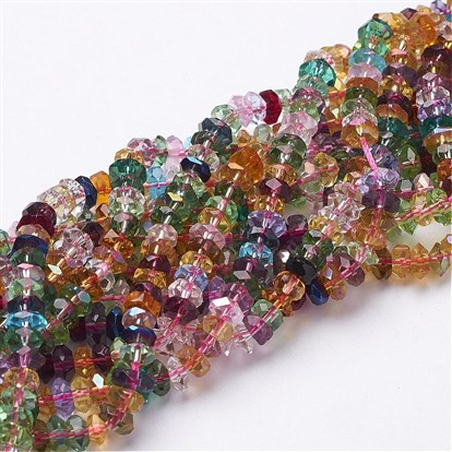 "Glass Beads Strands, Crystal Suncatcher, Mixed Color, Faceted, Abacus, 6x3mm, Hole: 1mm; about 125pcs/strand, 15""-1"