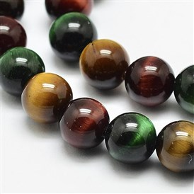 Natural Tiger Eye Beads Strands, Round, Grade A
