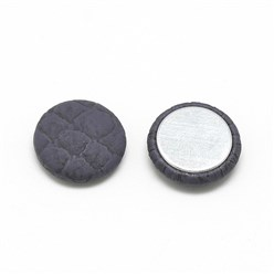 MidnightBlue Imitation Leather Woven Cabochons, with Aluminum Bottom, Flat Round, MidnightBlue, 19.5~20x5.5mm
