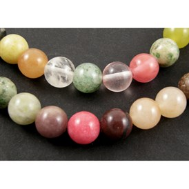 Mixed Gemstone Bead Strands, Round, 6mm