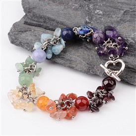 Chakra Gemstone Bracelets, with Alloy Toggel Clasp and Brass Findings, 195mm