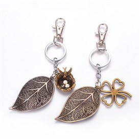 Alloy Keychain, Leaf and Bird's Nest, with Iron Findings and Acrylic Beads