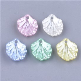 Acrylic Imitation Pearl Pendants, Leaf