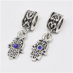 Sapphire Alloy European Dangle Beads, with Rhinestones, Large Hole Pendants, Long-Lasting Plated, Hamsa Hand/Hand of Fatima/Hand of Miriam with Eye, Antique Silver, Sapphire, 25mm, Hole: 4.5mm; Hamsa Hand/Hand of Fatima/Hand of Miriam with Eye: 15x8x3mm