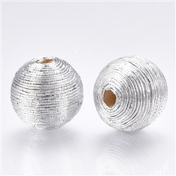 Silver Polyester Cord Fabric Beads, with Wood Inside, Round, Silver, 16~17x15.5~16mm, Hole: 3~4mm