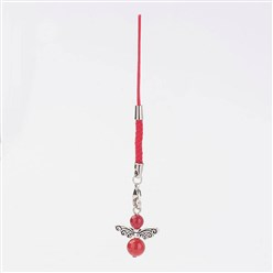 Red Angel Carnelian Pendant Mobile Straps, Cord Loop with Alloy Findings, Nylon Cord, Brass Lobster Claw Clasps, Red, 109mm