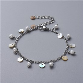 Charm Bracelets, with Glass Pearl, Natural Akoya Shell Charms, 304 Stainless Steel Cable Chains and Lobster Claw Clasps