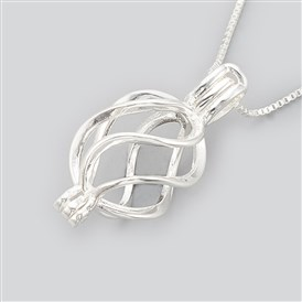 925 Sterling Silver Cage Pendant Necklaces, Carved 925
