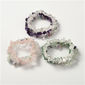 Multi-strand Gemstone Chips Stretch Bracelets, 3 Bracelets a Set, 53~55mm