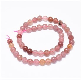 Natural Strawberry Quartz Beads Strands, Round