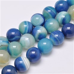 "DodgerBlue Natural Striped Agate/Banded Agate Bead Strands, Dyed & Heated, Round, Grade A, DodgerBlue, 14mm, Hole: 2mm; about 28pcs/strand, 14.9""(380mm)"