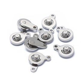 316 Stainless Steel Snap Clasps, Flat Round