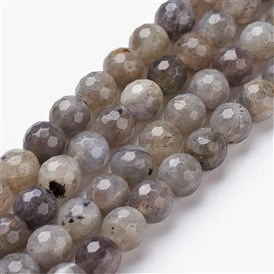 Natural Labradorite Bead Strands, Faceted, Round