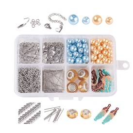 DIY Jewelry Making, with Seed Bead, Glass European Beads, Environmental Dyed Glass Pearl Round Beads and 304 Stainless Steel Findings