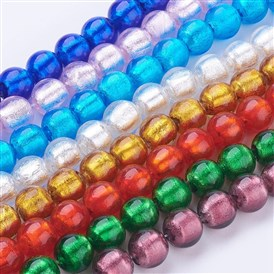 Craftdady 100Pcs Lampwork Glass Oval Spacer Beads 10 Colors Handcrafted Foil Drop Loose Beads with Flower 16~17x9~11mm for Jewelry Craft Making Hole:1.5~2mm