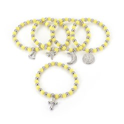 "Yellow 304 Stainless Steel Charm Bracelets, with Plastic Beads, Mixed Shaped, Yellow, 2-1/4""(5.6cm)"