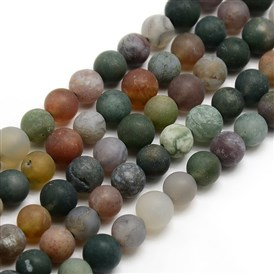Frosted Natural Indian Agate Round Bead Strands