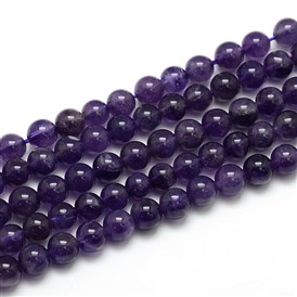Natural Amethyst Round Bead Strands, Grade AB, Hole: 1mm