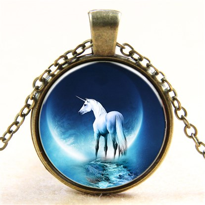 Unicorn Pattern Flat Round Glass Pendant Necklaces, with Alloy Chains-1