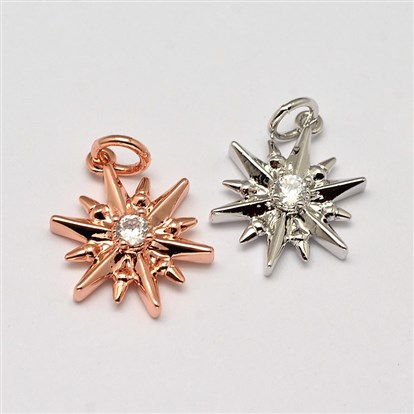 Snowflake Brass Micro Pave AAA Cubic Zirconia Pendants, Cadmium Free & Nickel Free & Lead Free, 16x12x4mm, Hole: 2.5mm-1