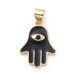 Black Enamel Pendants, with Brass Findings, Hamsa Hand/Hand of Fatima/Hand of Miriam with Eye, Golden, Black, 18.5x13.5x2mm, Hole: 3x5mm