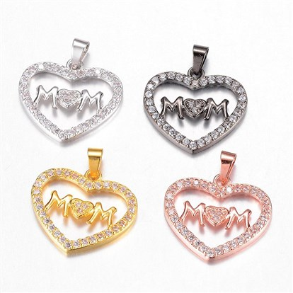 Brass Micro Pave Cubic Zirconia Pendants, Heart in Heart with Word MM-1