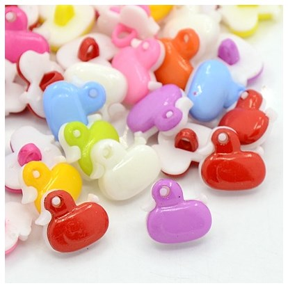 Lovely Duck Buttons, ABS Plastic Button, 13.5x13.5mm; about 400pcs/bag